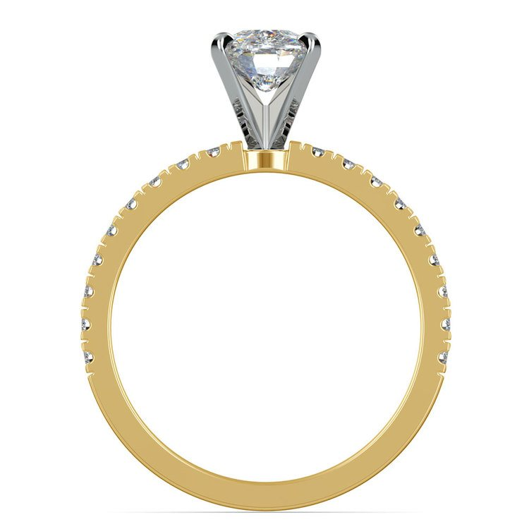 Pave Cushion Moissanite Engagement Ring in Yellow Gold (7 mm) | 04
