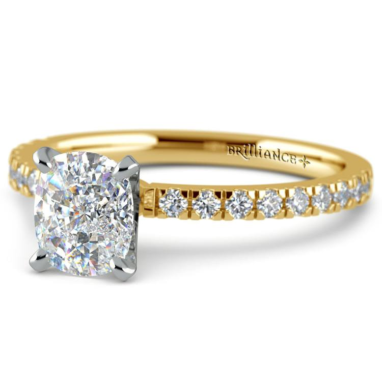 Pave Cushion Moissanite Engagement Ring in Yellow Gold (8 mm) | 01
