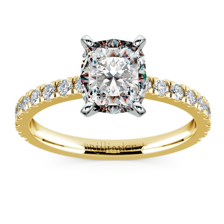 Pave Cushion Moissanite Engagement Ring in Yellow Gold (8 mm) | 02