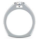Pave Diamond Euro Shank Engagement Ring in Platinum | Thumbnail 02
