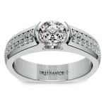 Pave Diamond Euro Shank Engagement Ring in White Gold | Thumbnail 01