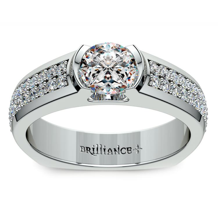 Pave Diamond Euro Shank Engagement Ring in White Gold | 01