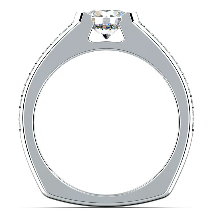 Pave Diamond Euro Shank Engagement Ring In White Gold