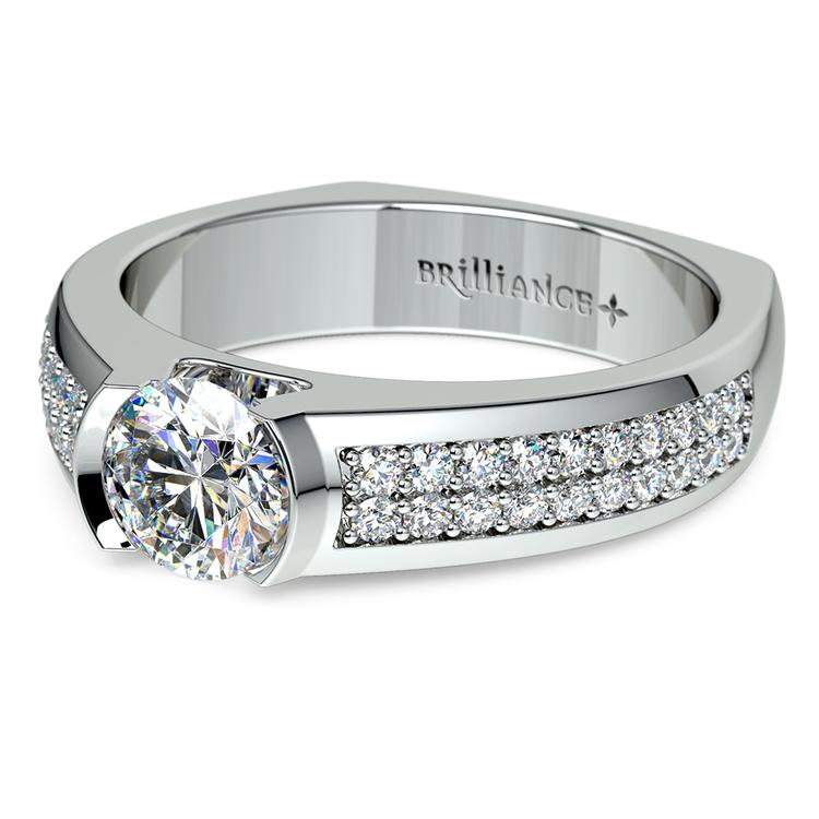 Pave Diamond Euro Shank Engagement Ring in White Gold | 04