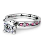 Pave Diamond & Pink Sapphire Gemstone Engagement Ring in Platinum | Thumbnail 04