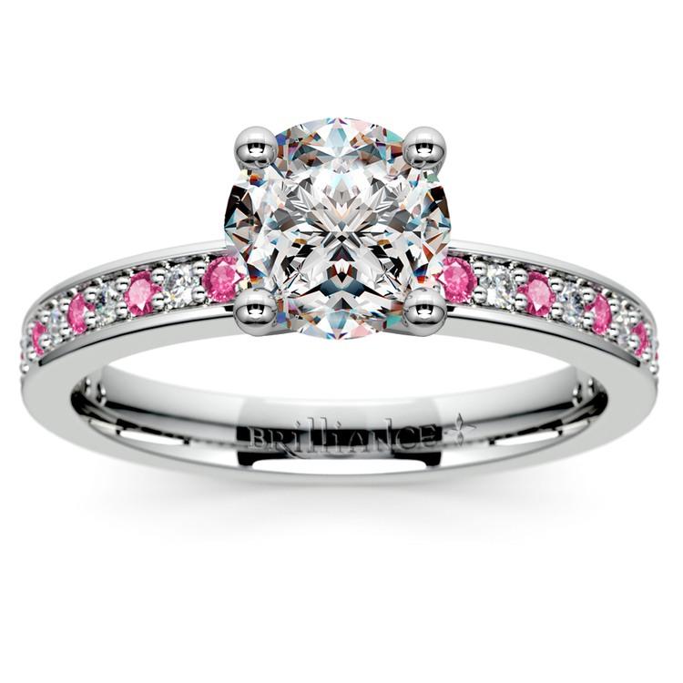 Pave Diamond & Pink Sapphire Gemstone Engagement Ring in Platinum | 01
