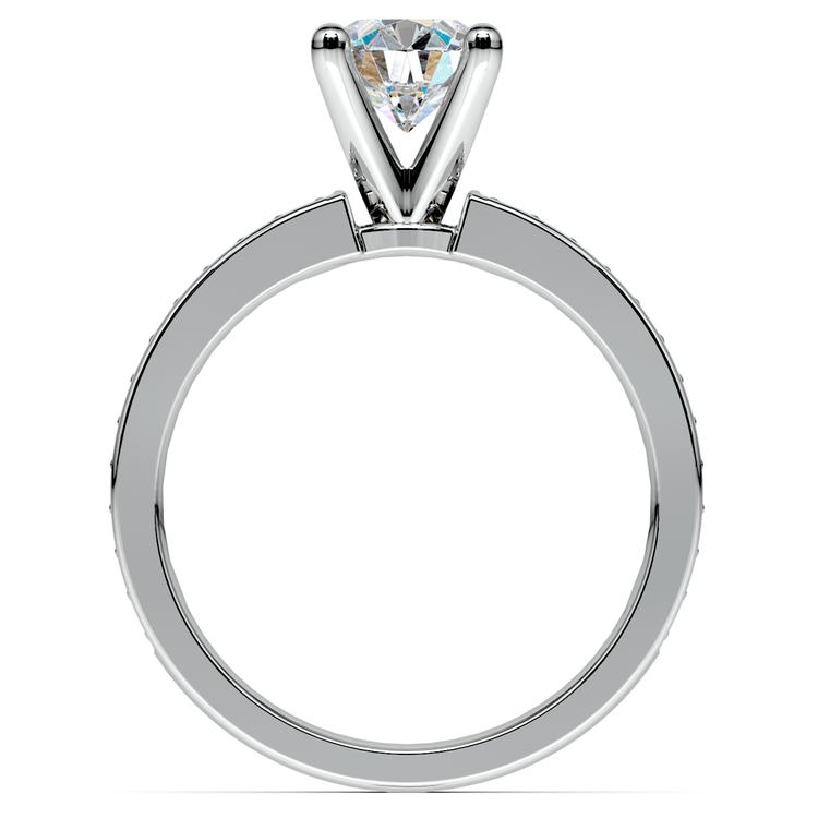 Pave Diamond & Pink Sapphire Gemstone Engagement Ring in Platinum | 02
