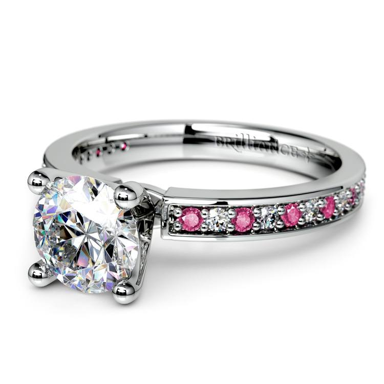 Pave Diamond & Pink Sapphire Gemstone Engagement Ring in Platinum | 04