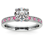 Pave Diamond & Pink Sapphire Gemstone Engagement Ring in White Gold | Thumbnail 01