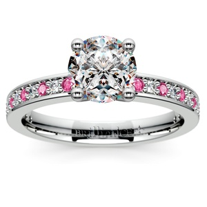 Pave Diamond & Pink Sapphire Gemstone Engagement Ring in White Gold