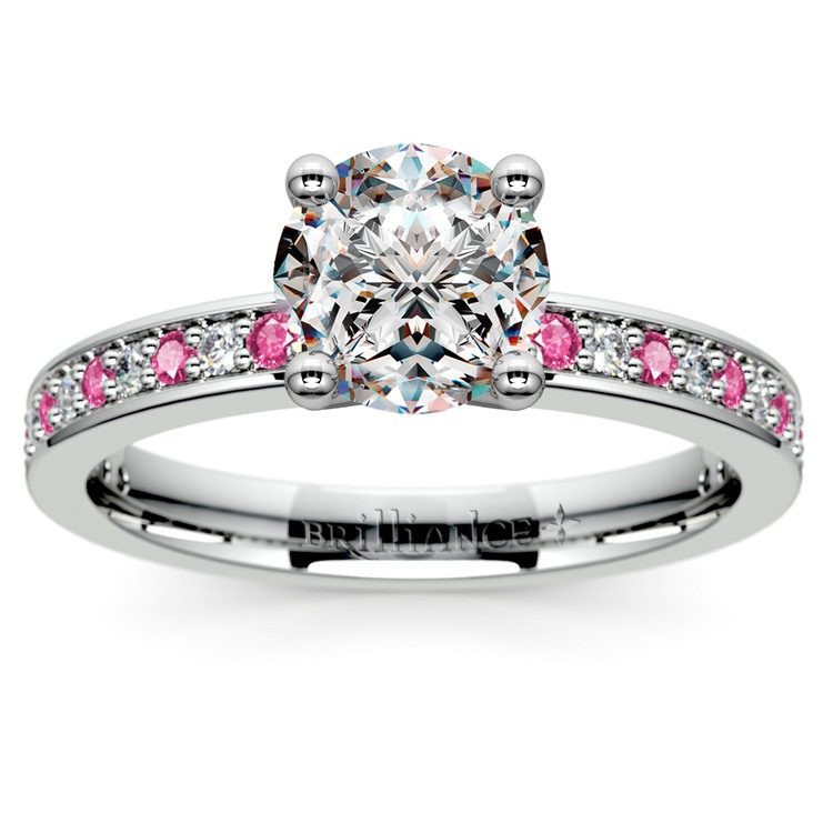 Pave Diamond & Pink Sapphire Gemstone Engagement Ring in White Gold | 01