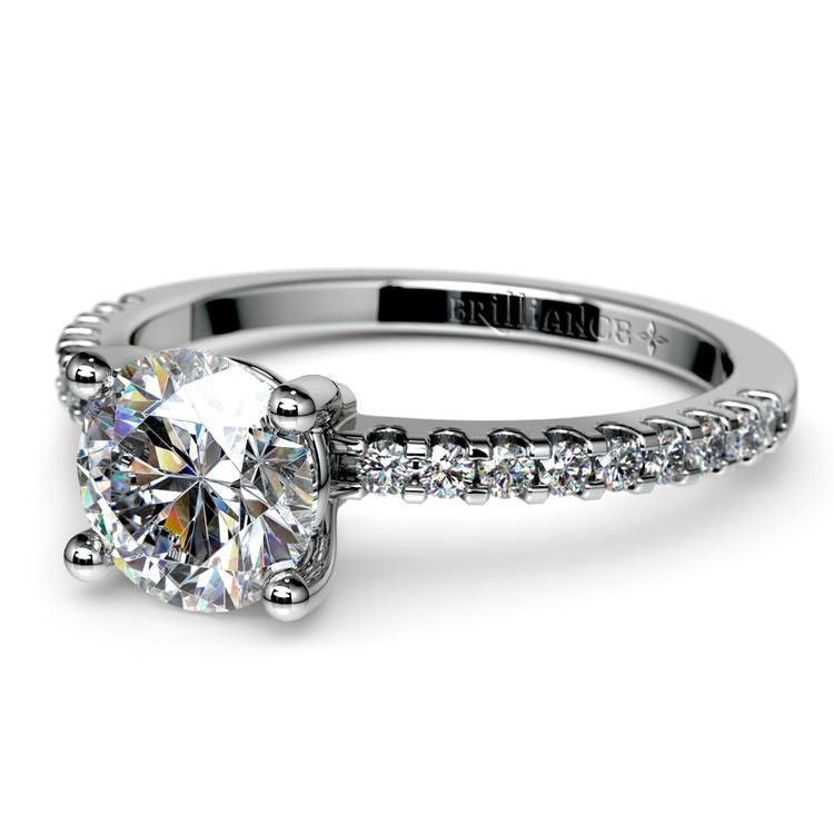 Pave Diamond Preset Engagement Ring in Platinum (1/3 ctw) | 01