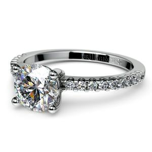 Pave Diamond Preset Engagement Ring in White Gold (1/2 ctw)