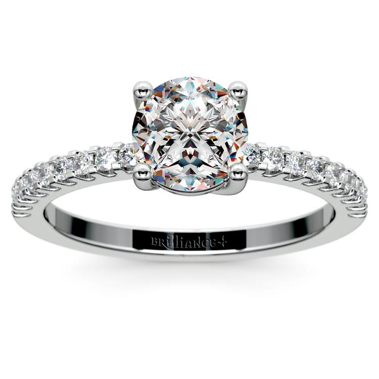 Pave Diamond Preset Engagement Ring in White Gold (1/3 ctw) | 02