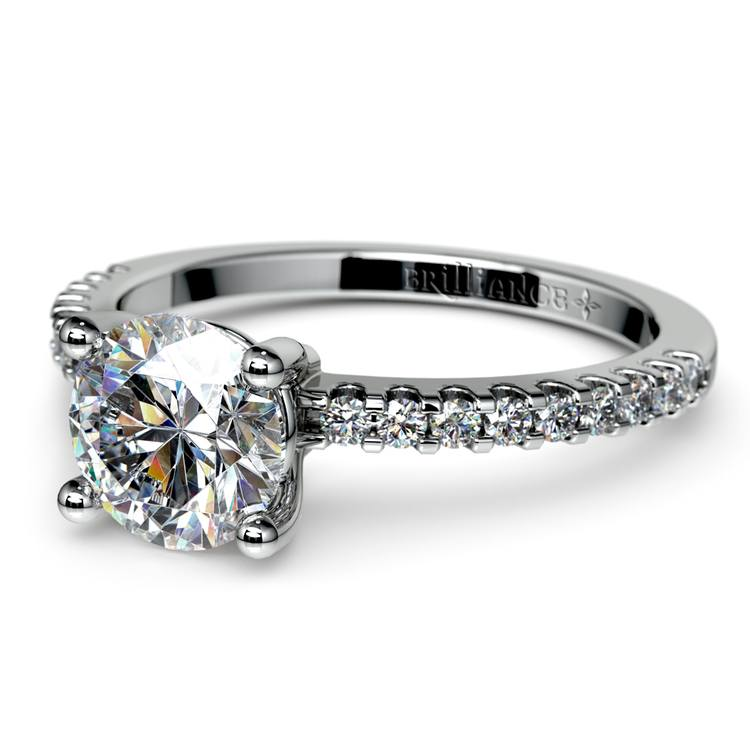 Pave Diamond Preset Engagement Ring in White Gold (3/4 ctw) | 01