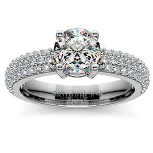 Pave Diamond Engagement Ring in Platinum