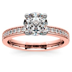 Pave Diamond Engagement Ring in Rose Gold (1/4 ctw)