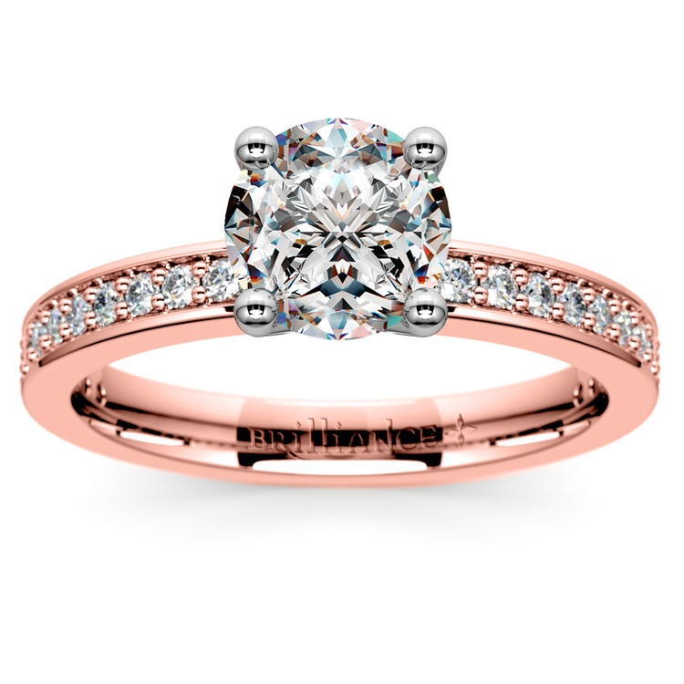 Pave Diamond Engagement Ring in Rose Gold (1/4 ctw) | 01