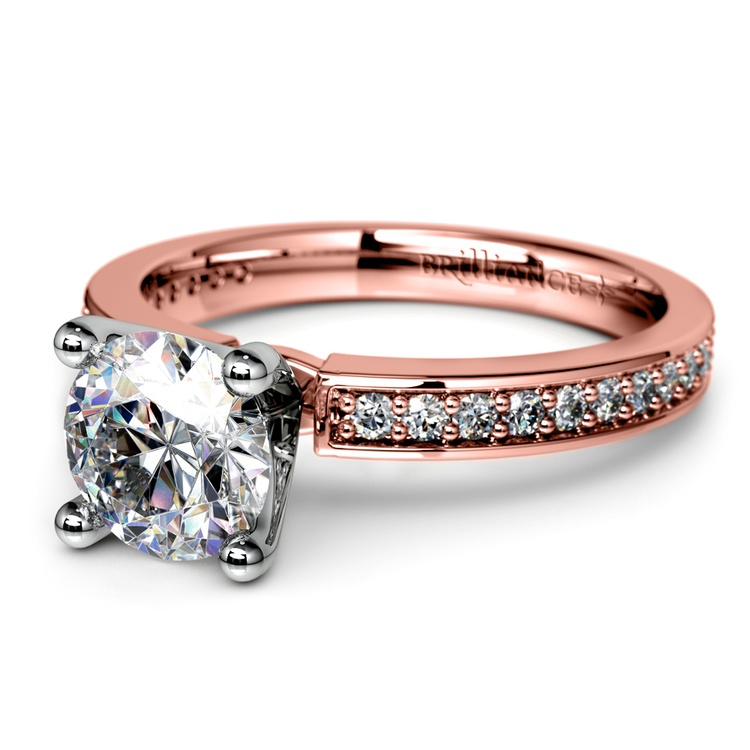 Pave Diamond Engagement Ring in Rose Gold (1/4 ctw) | 04