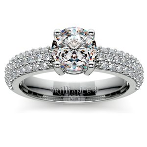 Pave Diamond Engagement Ring in White Gold