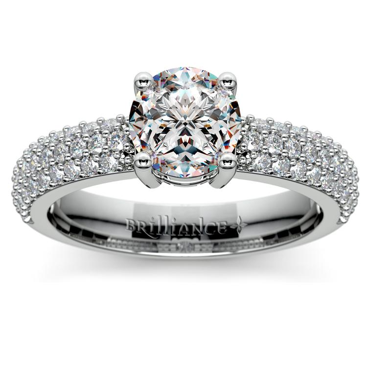 Pave Diamond Engagement Ring in White Gold  | 01
