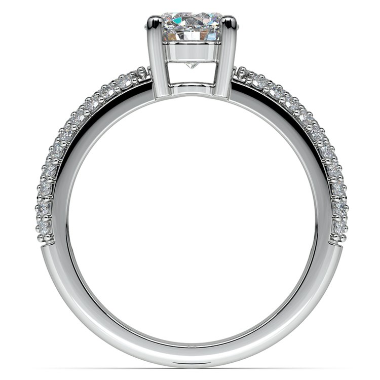 Pave Diamond Engagement Ring in White Gold  | 02