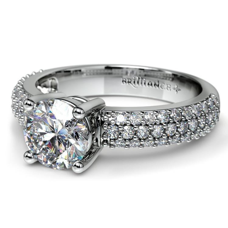 Pave Diamond Engagement Ring in White Gold  | 04