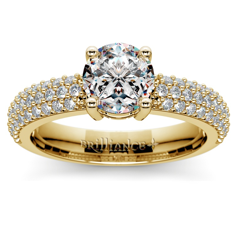 Pave Diamond Engagement Ring in Yellow Gold | 01