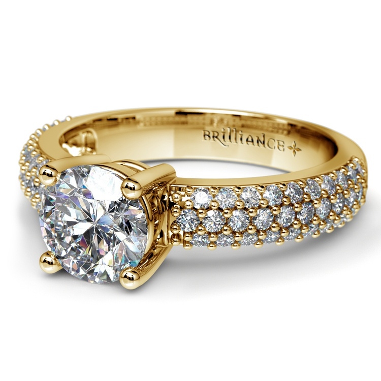 Pave Diamond Engagement Ring in Yellow Gold | 04