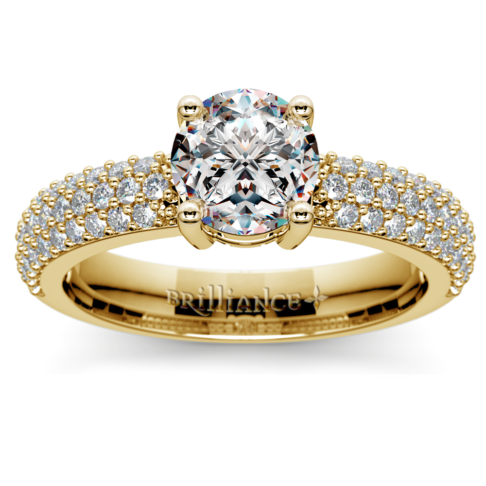 Pave Diamond Engagement Ring In Yellow Gold