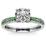 Pave Emerald Gemstone Engagement Ring in Platinum | Thumbnail 01