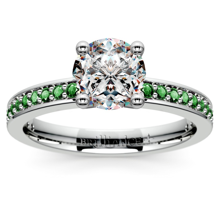 Pave Emerald Gemstone Engagement Ring in White Gold | 01