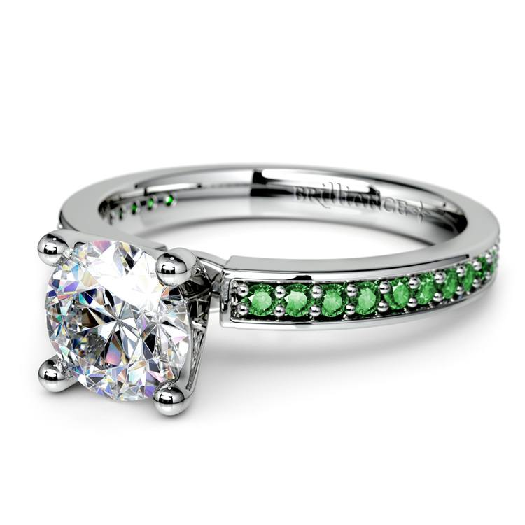 Pave Emerald Gemstone Engagement Ring in White Gold | 04