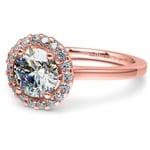 Pave Halo Diamond Engagement Ring in Rose Gold | Thumbnail 04