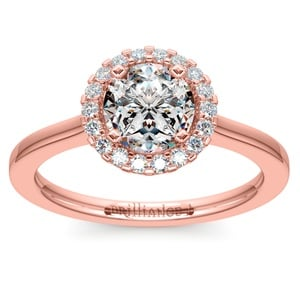Pave Halo Diamond Engagement Ring in Rose Gold