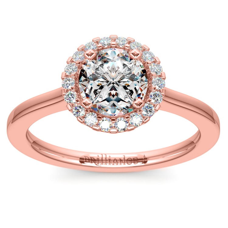 Pave Halo Diamond Engagement Ring in Rose Gold | 01