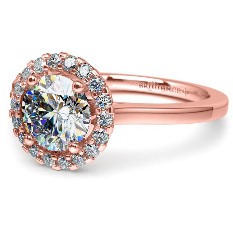 Pave Halo Diamond Engagement Ring in Rose Gold | 04
