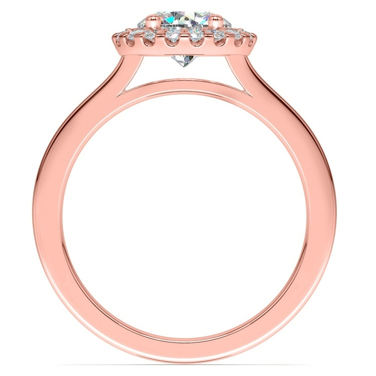 Pave Halo Diamond Engagement Ring in Rose Gold | 02