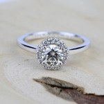 Pave Halo Diamond Engagement Ring in Platinum | Thumbnail 05