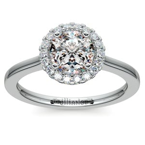 Pave Halo Diamond Engagement Ring in Platinum