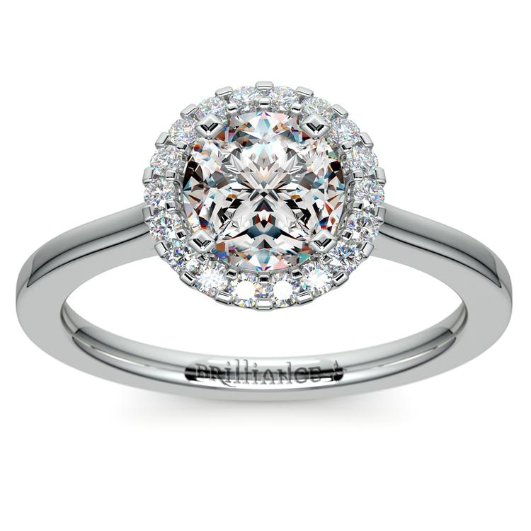 Pave Halo Diamond Engagement Ring in Platinum | 01