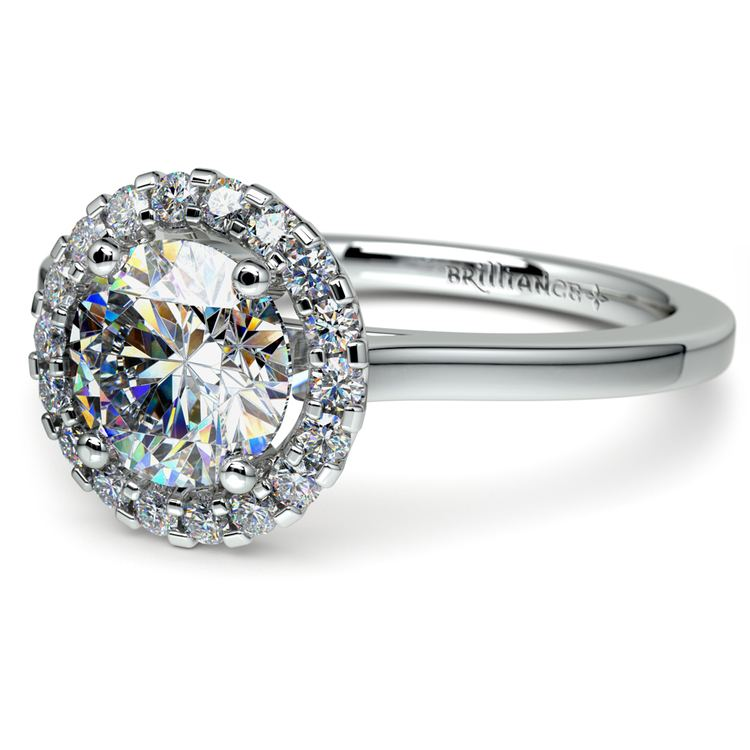 Pave Halo Diamond Engagement Ring in Platinum | 04