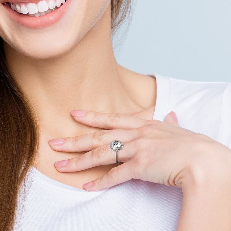 Pave Halo Diamond Engagement Ring in Platinum | 07