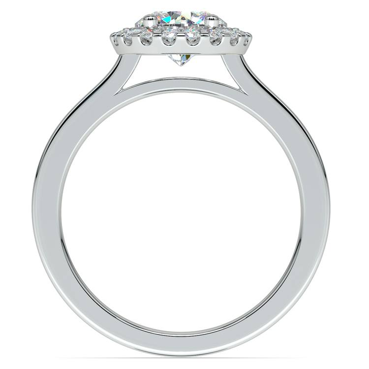 Pave Halo Diamond Engagement Ring in White Gold | 02