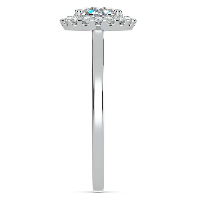 Pave Halo Diamond Engagement Ring in White Gold | 03