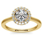 Pave Halo Diamond Engagement Ring in Yellow Gold  | Thumbnail 01