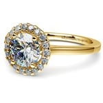 Pave Halo Diamond Engagement Ring in Yellow Gold  | Thumbnail 04