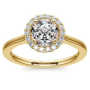 Pave Halo Diamond Engagement Ring in Yellow Gold