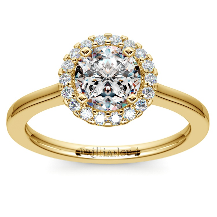 Pave Halo Diamond Engagement Ring in Yellow Gold  | 01