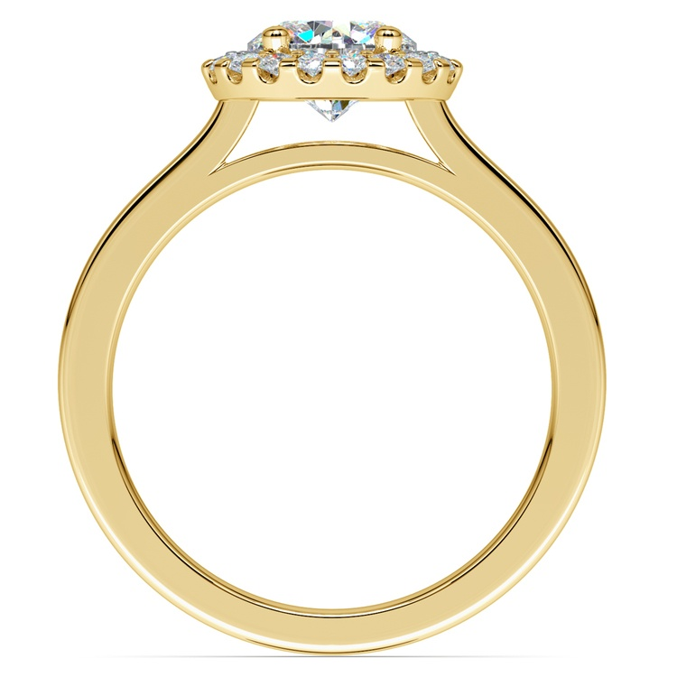 Pave Halo Diamond Engagement Ring in Yellow Gold  | 02
